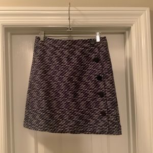 Loft Outlet Purple Tweed Skirt w/ Buttons